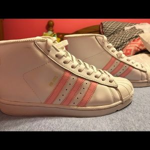 Adidas high top shell toe